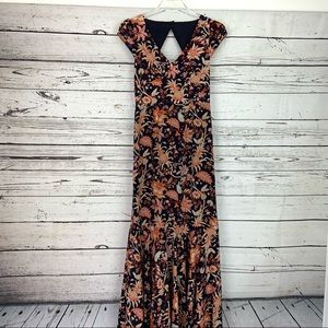 LEIFSDOTTIR Anthropologie Maxi Dress  Floral Silk